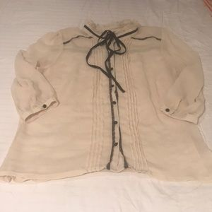 Bow detail ivory blouse
